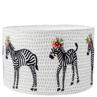 Drum Lampshade - Canvas Embroidered Zebras - Multicolour