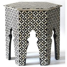 Bone Inlay Hexagonal Table - Large - Geometric - Black