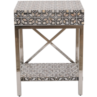MOP Inlay 1-Drawer Side Table - Modern Geometric - Grey