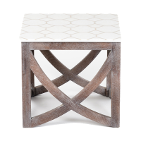 Marble & Brass Inlay Side Table - White