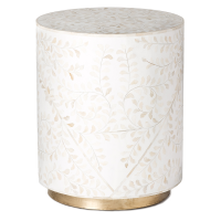 Floral Bone Inlay Round Side Table - White
