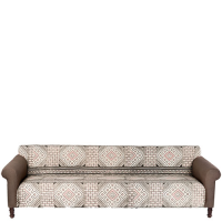 Oversized Sofa with Printed Cotton Rug - Brown / Pale Pink / Black