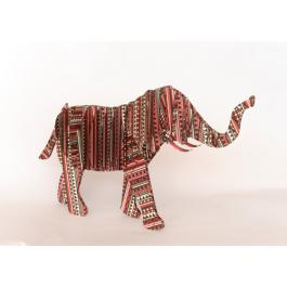 3D Standing Elephant - Aztec - Multi Red