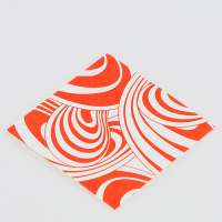 Scandi Greeting Card - Swirl - Orange / White