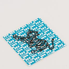 Scandi Tiger Greeting Card - Leaves - Teal / Black