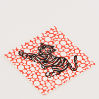 Scandi Tiger Greeting Card - Pebbles - Orange / Black