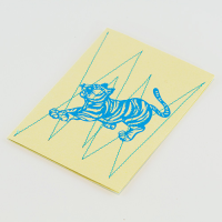 Stitched Tiger Greeting Card - Yellow / Aqua