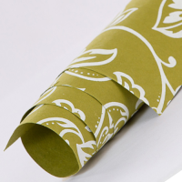 Tribal Floral Wrapping Paper - Olive Green
