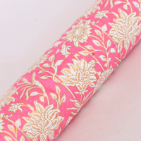 Block Printed Wrapping Paper - Floral Pink