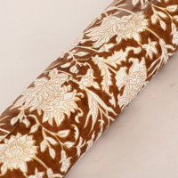 Block Printed Wrapping Paper - Floral Chocolate