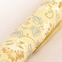 Classic Floral Wrapping Paper - Small Design - Cream / Gold / White