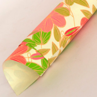 Striped Flower Wrapping Paper - Ivory / Pink / Green