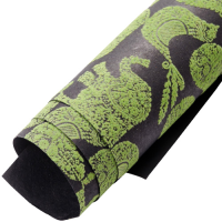 Velvet Fruit / Animal Wrapping Paper - Black / Green