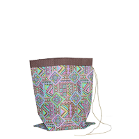 Tribal Crushed Bag - Small - Green / Pink / Purple