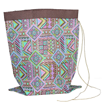 Tribal Crushed Bag - Medium - Green / Pink / Purple