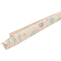 Elephant Wrapping Paper - Beige / Orange / Turquoise / Gold