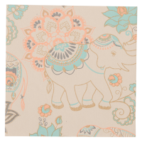 Elephant Greeting Card - Beige / Orange / Turquoise / Gold