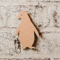 Penguin Tag (set of 6) - Natural / Orange