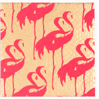 Flamingo Greeting Card - Gold / Pink / Orange
