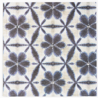 Shibori Greeting Card - Silver Stitched Flowers - Indigo