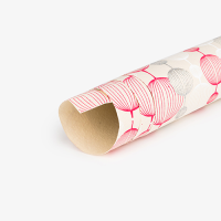 Lantern Wrapping Paper - Red / White / Silver