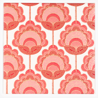 Vertical Flower Greeting Card - Red / Pink / Gold