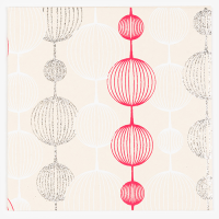 Lantern Greeting Card - Red / White / Silver