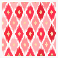 Ikat Greeting Card - Pink / Red