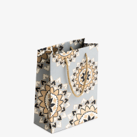 Mandala Gift Bag - Small - Grey / Gold / Black