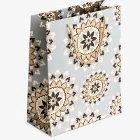 Mandala Gift Bag - Large - Grey / Gold / Black