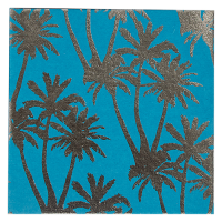 Tropicana Foil Greeting Card - Blue / Silver