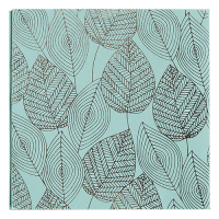 Foil Leaves Greeting Card - Aqua / Silver