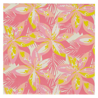 Hibiscus Greeting Card - Pink / Yellow Multi