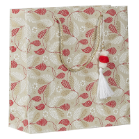 Christmas Leaves Pompom Gift Bag - Natural / Red / White