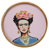 New Frida Round Tray - Fuchsia - Multicolour