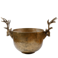 Champagne Bucket with Deer Heads - Antique Gold