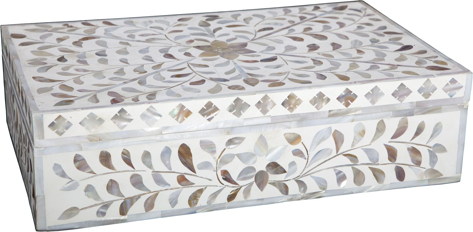 Mother Of Pearl Inlay Box   White