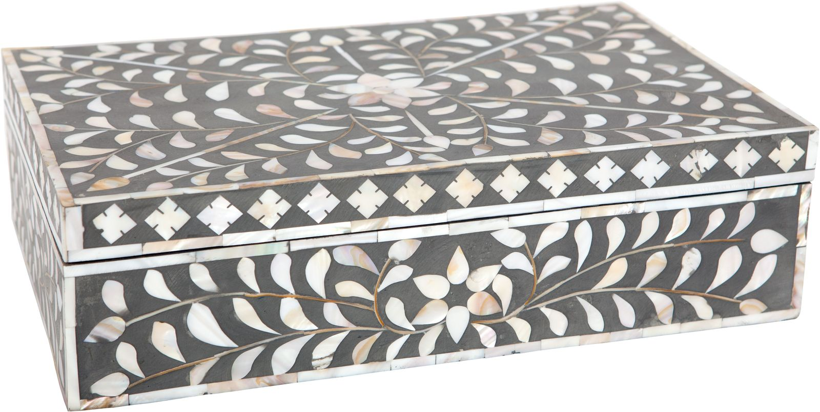 Ruby Star Traders Mother Of Pearl Inlay Box Taupe