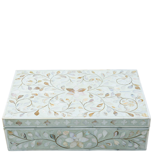 Ruby Star Traders Mop Inlay Box Floral Pale Blue