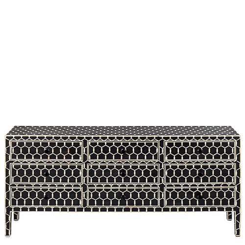 Black And White Bone Inlay Chest Of Drawer With 4 Doors